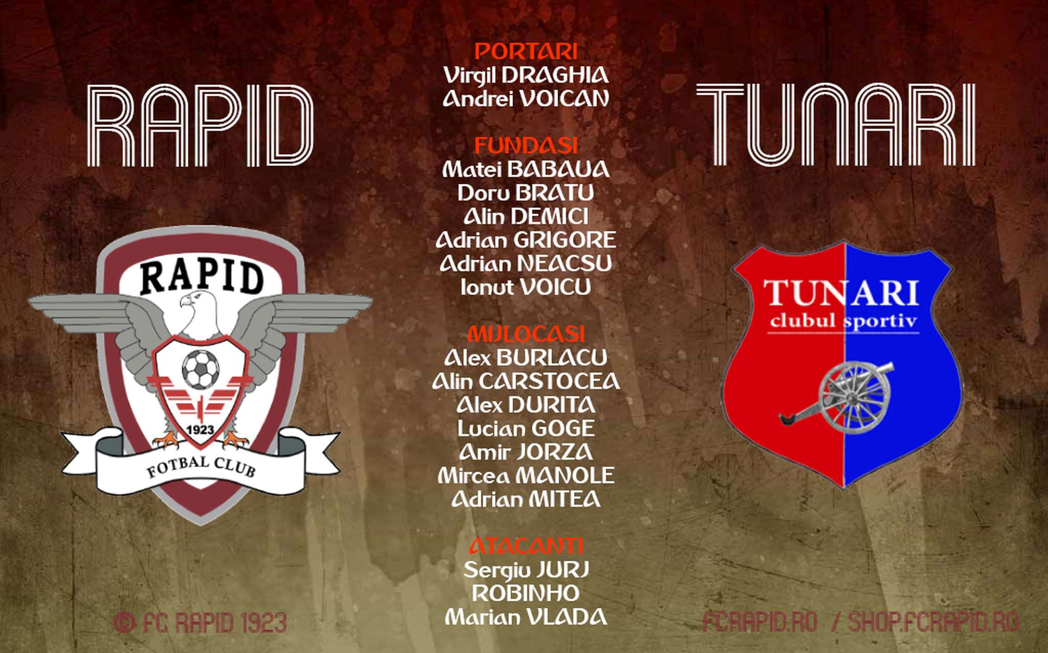 lot fc rapid bucuresti vs cs tunari